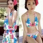 Set: Floral Bikini + Playsuit