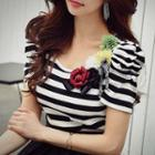 Short-sleeve Applique Striped Top