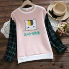 Plaid-sleeve Cat Print Pullover