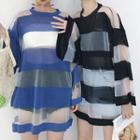 Long-sleeve Sheer Striped T-shirt