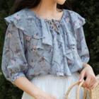 Floral Elbow-sleeve Chiffon Top Blue - One Size