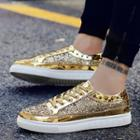 Studded Glittered Lace-up Shoes