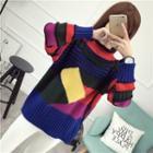 Color Block Mock Neck Sweater