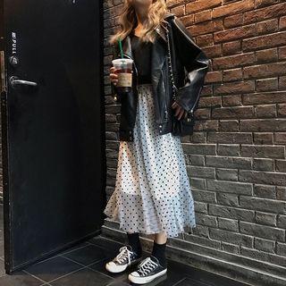 Dotted Midi Mesh Skirt Dot - White - One Size