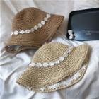 Lace Flower Straw Bucket Hat