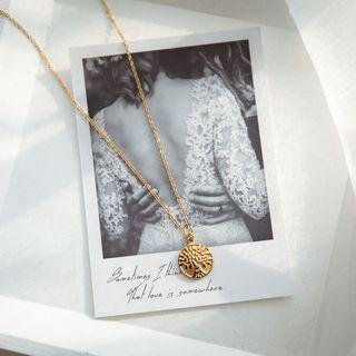 Alloy Coin & Cross Pendant Layered Necklace Gold - One Size