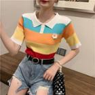 Short-sleeve Floral Ribbed Knit Top As Shown In Figure - One Size