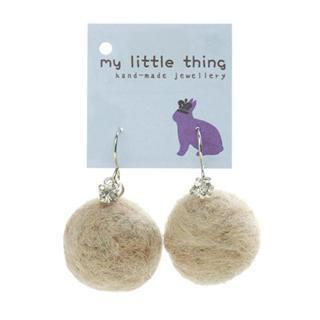 Camel Felt Ball Ball Stone Earrings