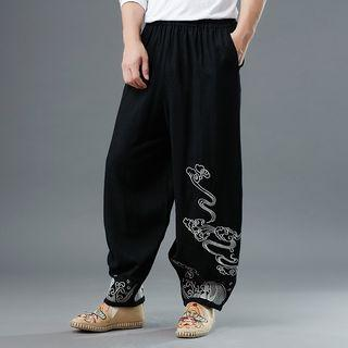 Embroidered Elastic Waist Pants As Shown In Figure - One Size