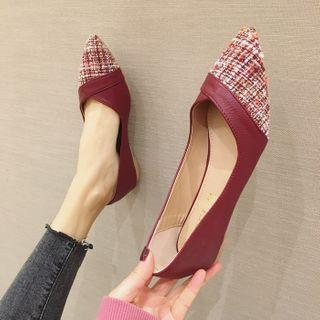 Plaid Panel Pointed Flats