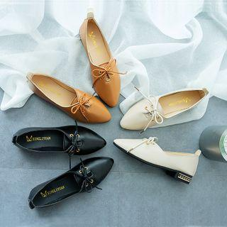 Low-heel Pointed Oxford Shoes