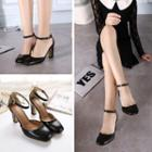 Ankle Strap Square Toe Chunky Heel Pumps