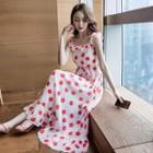 Sleeveless Dotted Maxi Chiffon Dress