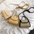 Contrast Trim Woven Crossbody Bag