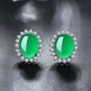 Cz Sterling Silver Jeweled Studs