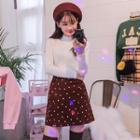 Slit-hem Polka-dot Mini Skirt