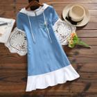 Short-sleeve Floral Embroidery Denim Dress
