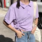 Short-sleeve Drawstring Polo Shirt