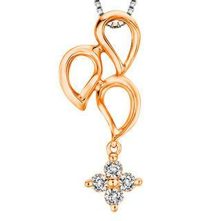 18k Rose Gold Triple Teardrops Cross Diamond Accent Necklace (1/10 Cttw) (free 925 Silver Box Chain, 16)