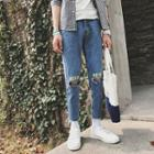 Lettering Ripped Fray Hem Jeans