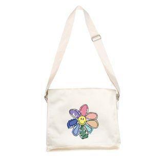 Flower Print Messenger Bag White - One Size
