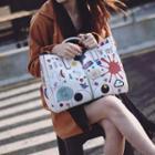 Set: Cartoon Printed Handbag + Pouch