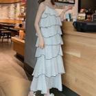 Spaghetti Strap Dotted Tiered Midi Dress White - One Size
