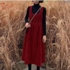 Long-sleeve Turtleneck Knit Top / Sleeveless Midi A-line Corduroy Dress
