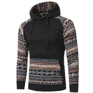Patterned Panel Hooded Sweatshirt