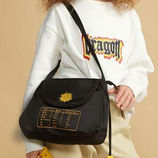 Embroidered Nylon Shoulder Bag Black - One Size