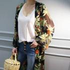Open-front Floral Pattern Chiffon Top