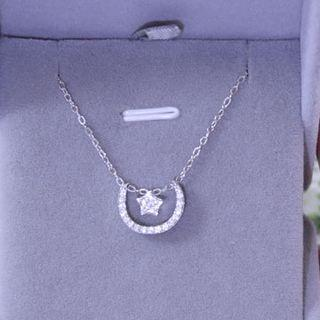 Cz Moon & Star Necklace Silver - One Size