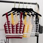 Gingham Cropped Camisole Knit Top