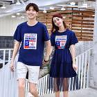 Couple Matching Short-sleeve Printed T-shirt / Short-sleeve Printed Midi Mesh Dress