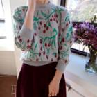 Cherry Patterned Wool Blend Knit Top