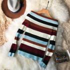 Off-shoulder Striped Long-sleeve Knit Top