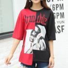 Contrast Panel Short-sleeve T-shirt