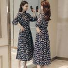 Printed Pleated Chiffon Dress