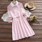 Long-sleeve Polka Dot A-line Collared Dress