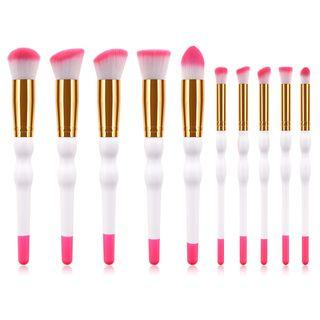 Set Of 10: Makeup Brushes T-10-174 - 10 Pcs - Rose Pink & White - One Size
