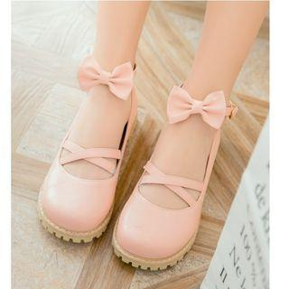 Lolita Bow Faux-leather Ankle-strap Flats