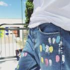 Splattered Distressed Jeans