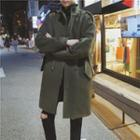 Drawstring-waist Stand-collar Coat