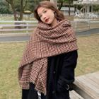 Houndstooth Knit Scarf Red - One Size