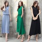 Sleeveless Buttoned Maxi Dress