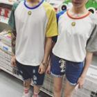 Couple Matching Color Block Short-sleeve T-shirt