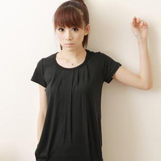 Short-sleeve Long T-shirt Black - One Size