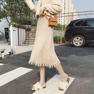 Fringed Knit Midi A-line Skirt