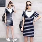 Short-sleeve Striped Fringed Dress