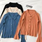 Plain Single-breasted Flare-sleeve Knit Top